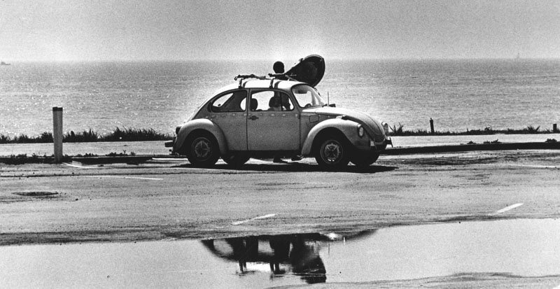 March 31, 1983: Surfer in Pacific Palisades near Pacific Coast Highway and Temescal.
