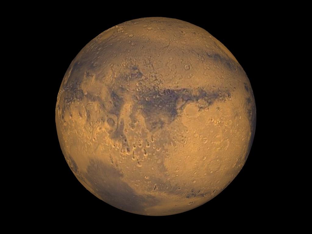 Mars true-color globe showing Terra Meridiani.