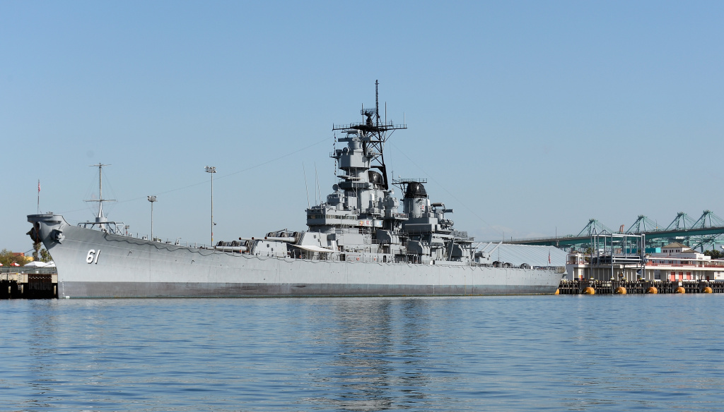 Retired U.S. Navy battleship USS Iowa, the only floating museum on the West Coast open to the public, docked in the Port of Los Angeles on April 16, 2013 in San Pedro.