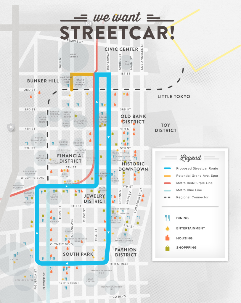 A map from a third party construction authority shows the proposed route for the streetcar.