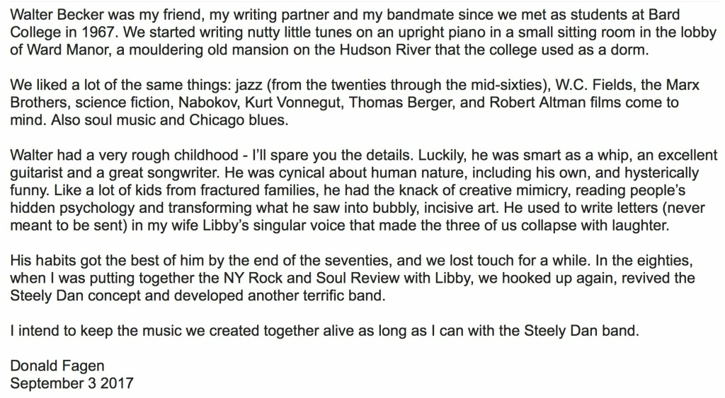 Donald Fagen's statement about his Steely Dan bandmate Walter Becker's death.
