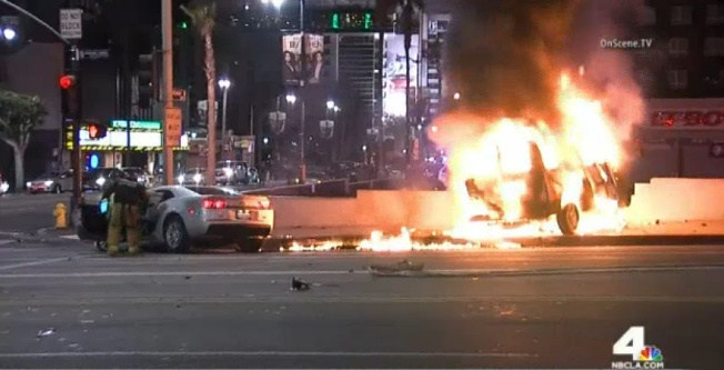 Two people, including a Metro worker, were killed when the driver of a Chevrolet Camaro left a traffic stop and slammed into a van at Hollywood Boulevard and Gower Street on Dec. 28, 2015.