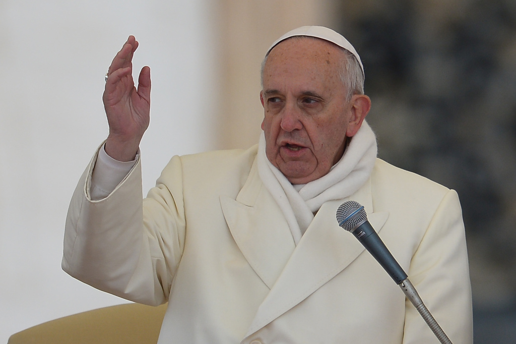 Pope Francis blesses the crowd during his general audience at St Peter's square on November 27, 2013 at the Vatican.
