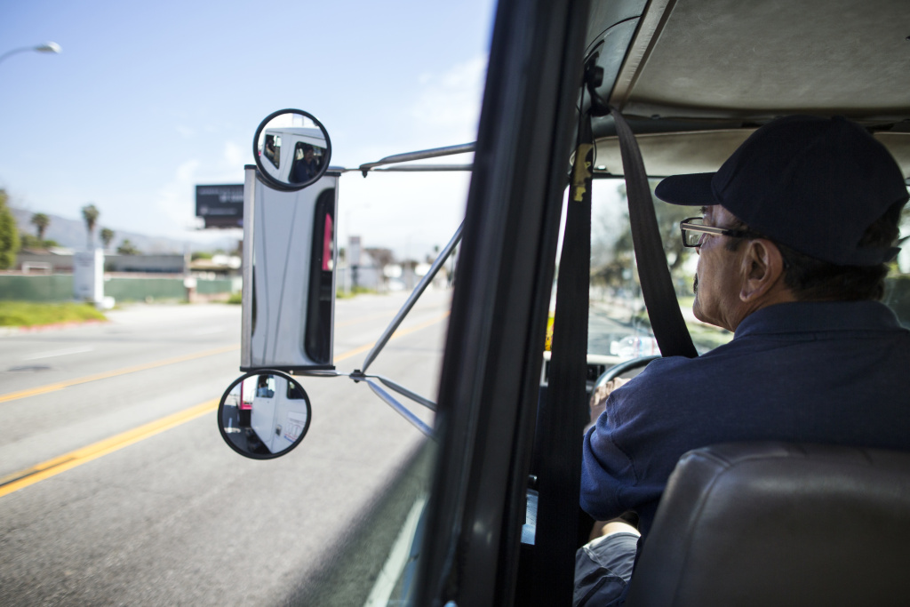 Rudy Quiroz, a supervising instructor at Dootson School of Trucking, drives through El Monte on Wednesday morning, March 15, 2017.