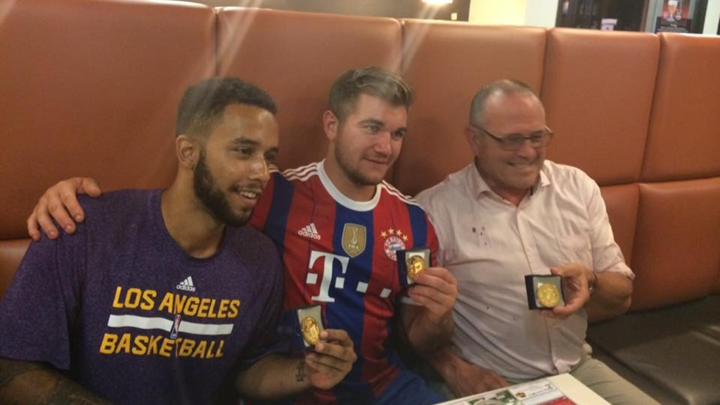 In an image obtained from the Facebook page of the mayor of Arras, Fredric Leturque, from left to right, Anthony Sadler, a senior at Sacramento State University, Alek Skarlatos, U.S. National Guardsman from Roseburg, Oregon, and Briton Chris Norman, who helped subdue the alleged gunman, along with Air Force serviceman Spencer Stone, who was hospitalized with serious wounds.