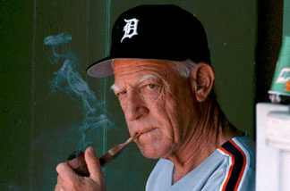 File photo: Sparky Anderson, April 16, 1995, managing the Detroit Tigers in an exhibition game against the St. Louis Cardinals.