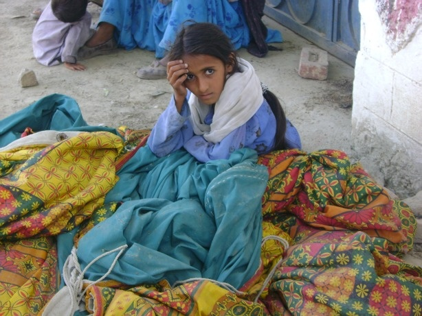A young girl at a refugee camp in Pakistan