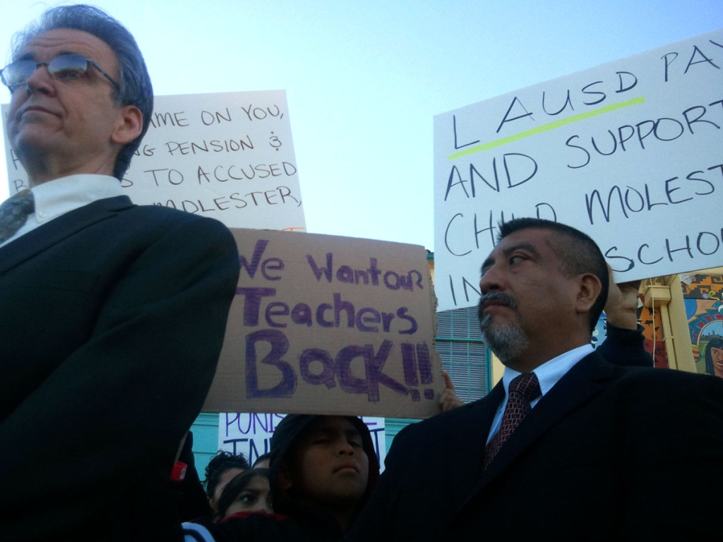 UTLA president Warren Fletcher (L) said in a press release that union members are angered by the one-year agreement they made with LAUSD.