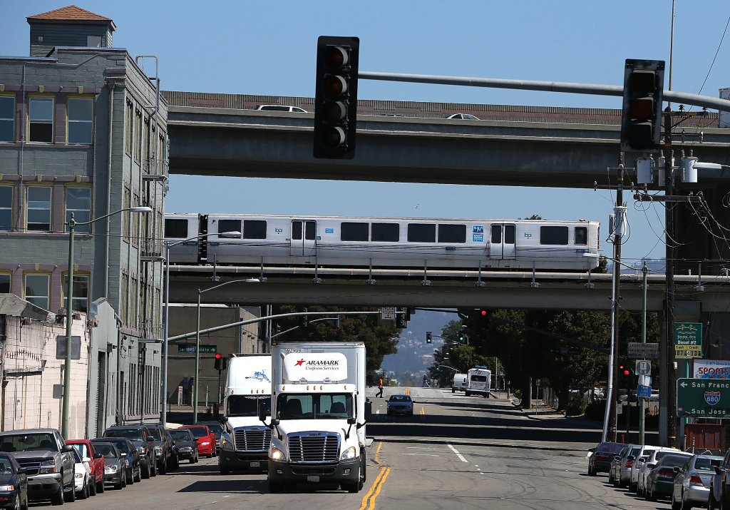 A Bay Area Rapid Transit (BART) train travels towards downtown Oakland on August 2, 2013 in Oakland.