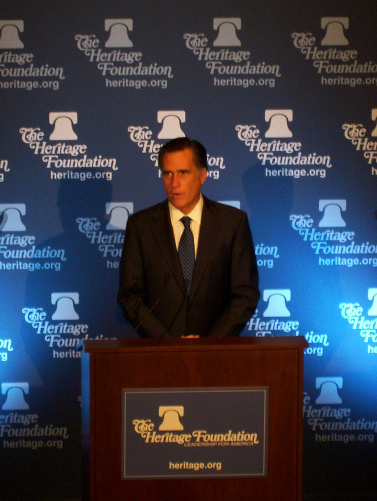 GOP presidential candidate Mitt Romney speaks at an event hosted by conservative think tank The Heritage Foundation.