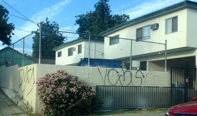 This wall in Echo Park is tagged with what police have identified as territorial gang graffiti.