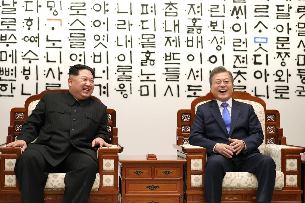 North Korean leader Kim Jong Un, left, and South Korean President Moon Jae-in are in talks during the Inter-Korean Summit on April 27, 2018 in Panmunjom, South Korea. Kim and Moon meet at the border today for the third-ever Inter-Korean summit talks after the 1945 division of the peninsula, and first since 2007 between then President Roh Moo-hyun of South Korea and Leader Kim Jong-il of North Korea.