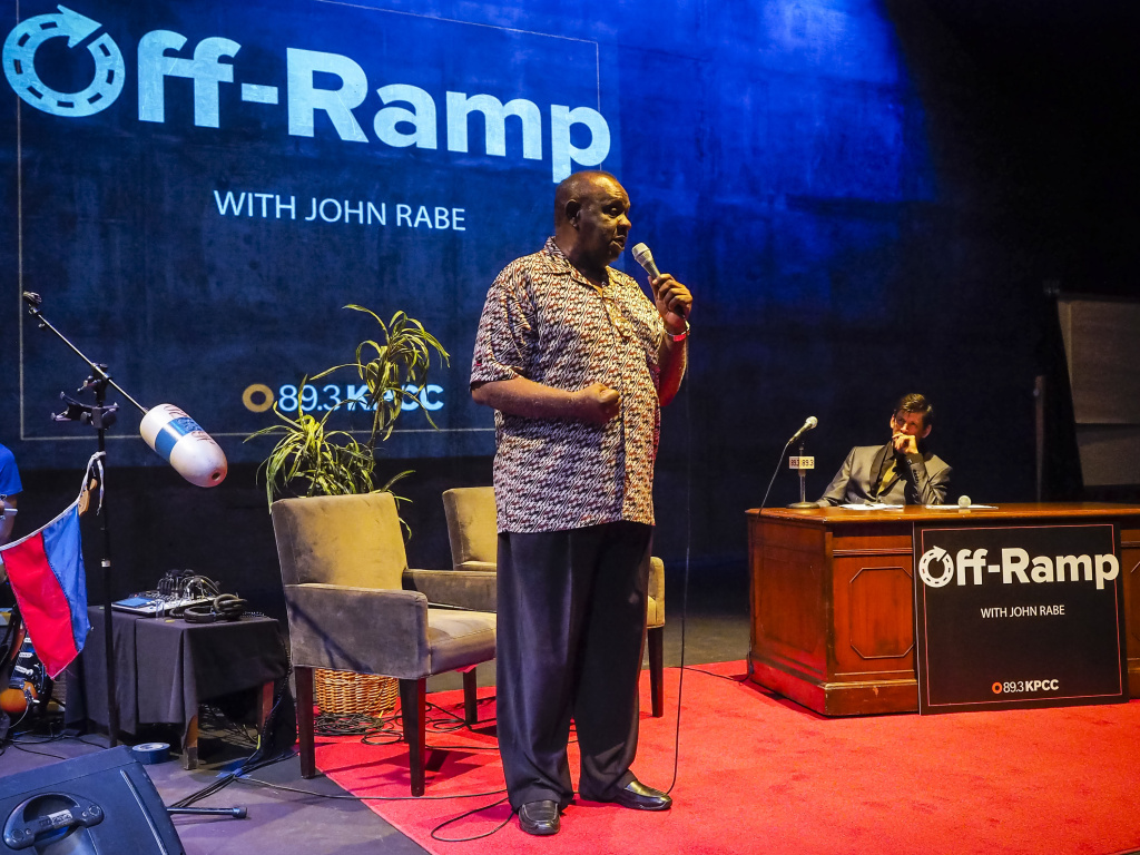 Singer David Whitfield performs for Off-Ramp's 10th Anniversary special at the Los Angeles Theater Center in Downtown Los Angeles