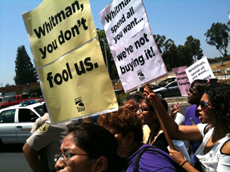About 100 people, mobilized by labor unions, protested Republican Meg Whitman's opening of an East Los Angeles campaign office. They said her tough stance on illegal immigration makes her anti-Latino.