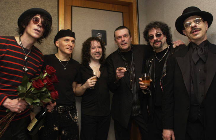 File: The J. Geils Band pose after performing at the Cam Neely Foundation For Cancer Celebrity Fundraiser
