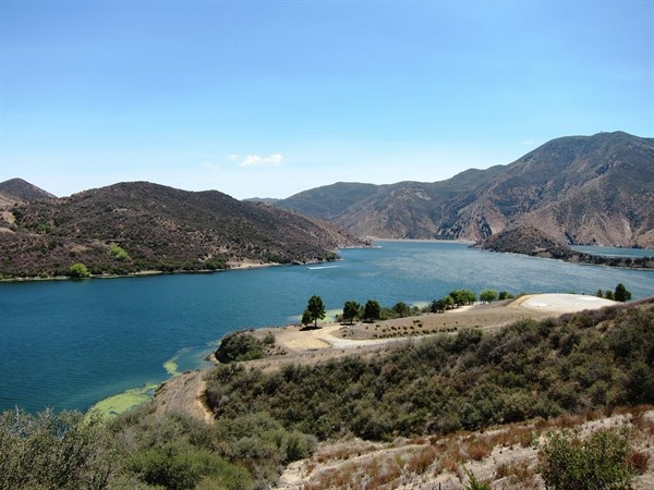 Pyramid Lake near Los Angeles is nearly completely full with stored drinking water.