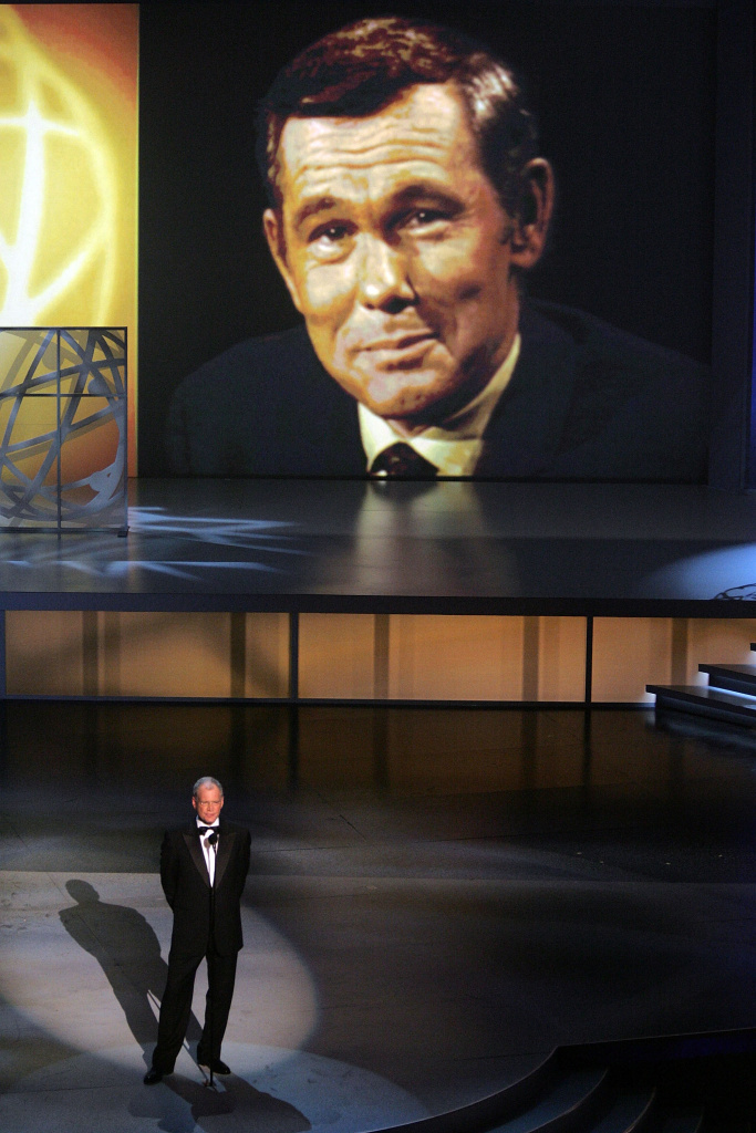 Late Night TV Show Host David Letterman makes a tribute to Johnny Carson onstage at the 57th Annual Emmy Awards.