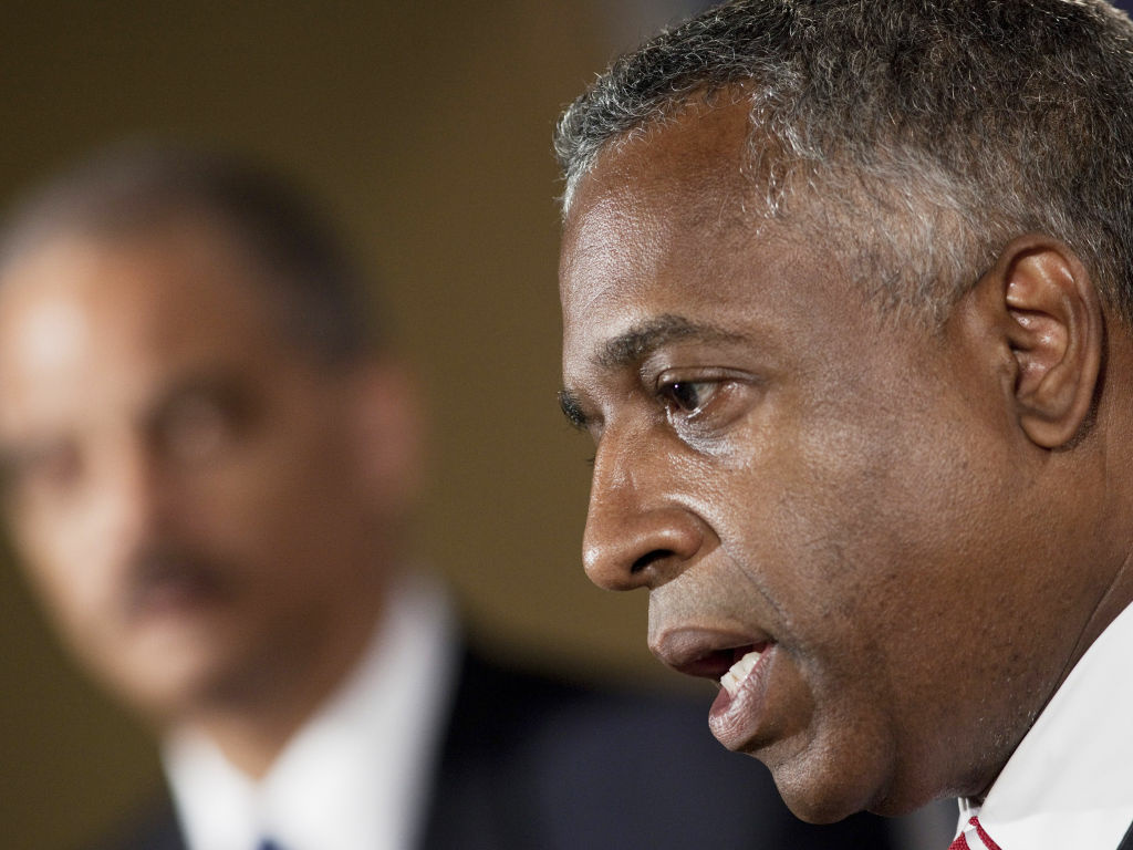 B. Todd Jones, now acting director of the ATF, speaks in Washington in 2010 while Attorney General Eric Holder looks on.
