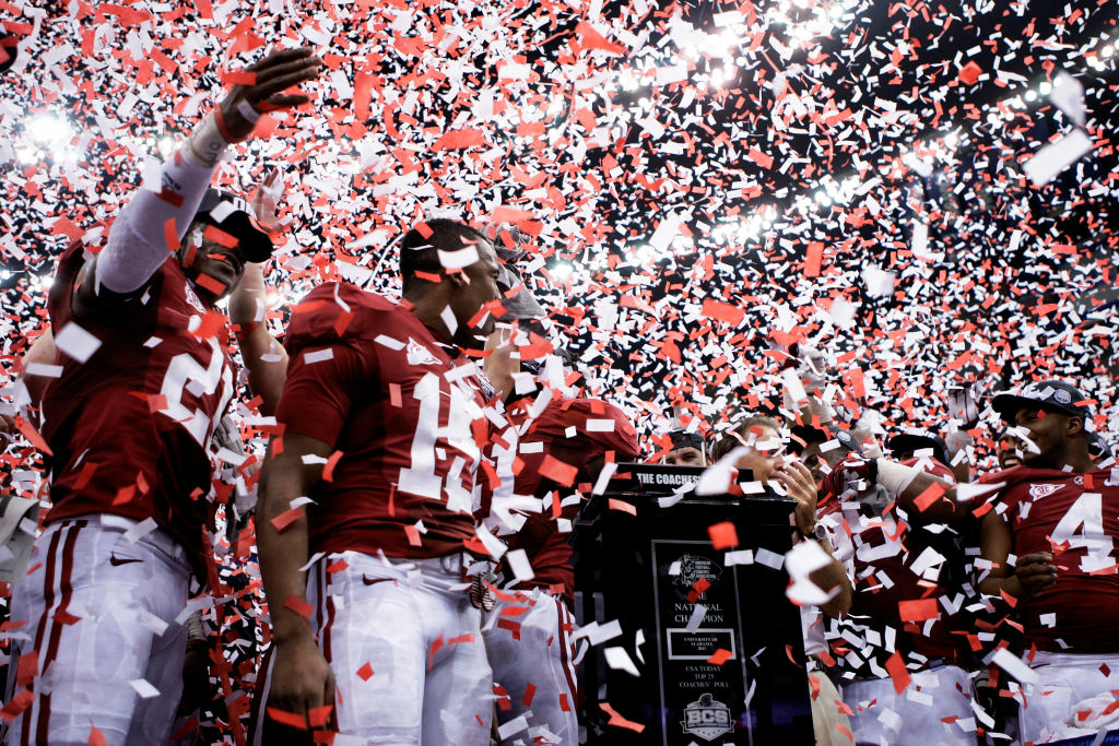The Alabama Crimson Tide celebrate after defeating the Louisiana State University Tigers in the 2012 Allstate BCS National Championship Game at Mercedes-Benz Superdome on January 9, 2012 in New Orleans, Louisiana.