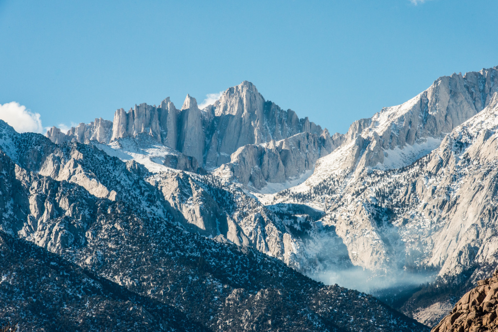 Mt. Whitney, as seen from HWY 395 on the eastern side of the Sierra Nevada mountain range in California.