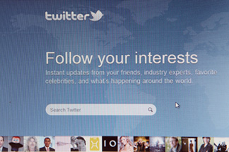 A close-up view of the homepage of the microblogging website Twitter.