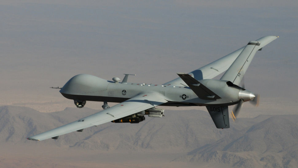 The Predator drones flying over Afghanistan and Pakistan are variants of this MQ-9 Reaper.  President Barack Obama has pledged to more narrowly restrict and monitor the country's use of drones to strike targets overseas.