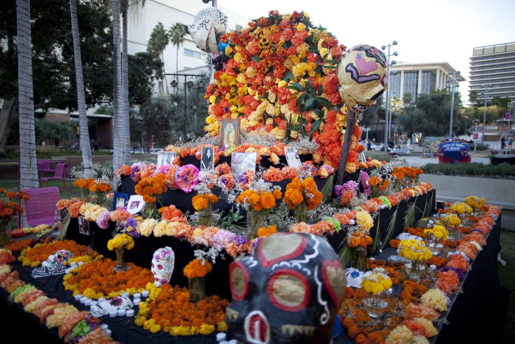 A Día de los Muertos altar in Grand Park.