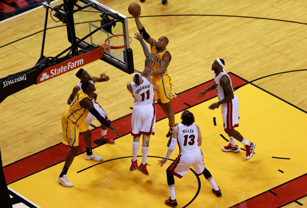 David West #21 of the Indiana Pacers attempts a shot in the second half against Chris Andersen #11 of the Miami Heat during Game Seven of the Eastern Conference Finals of the 2013 NBA Playoffs on June 3, 2013 in Miami, Florida.