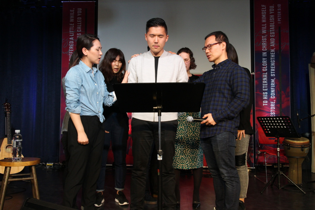 Erin Lee, left, and her husband Christian Lee, right, help lead the New Philadelphia Church in Seoul for expatriates. Paul Yoo, middle, is former pastor at New Philadelphia Church's Sydney, Australia location.