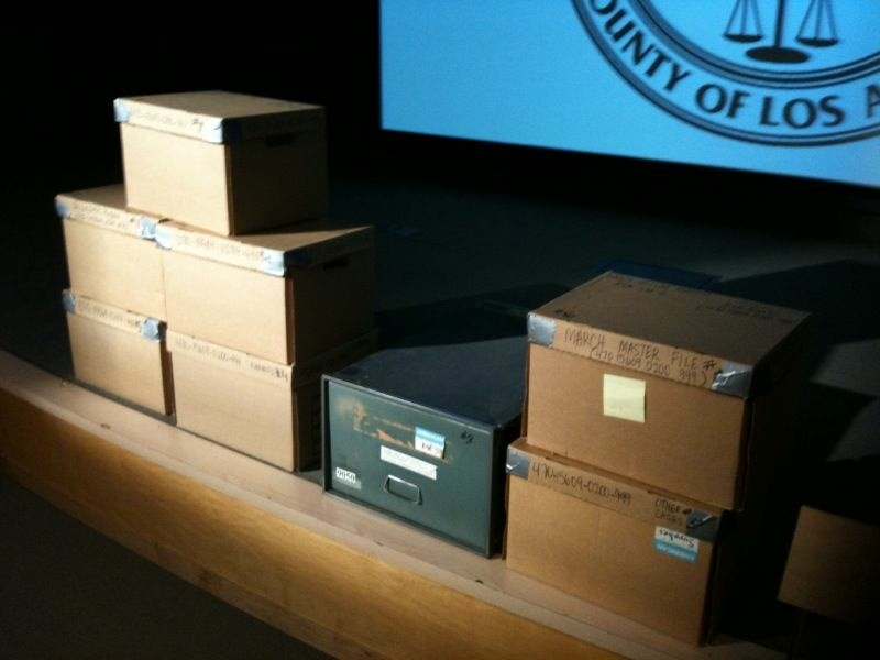These boxes contain information related to the death of journalist Ruben Salazar at the hands of an L.A. County Sheriff's deputy. MALDEF wants the Sheriff's Department to disclosure their contents, permanently.