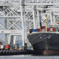 A cargo ship at the Port of Long Beach. Ports rely on Department of Homeland Security grant funding to help pay for their own security operations. Congress has yet to agree on legislation that would fund the department beyond Friday. If there is a DHS shutdown, ports and other local agencies fear some of their grant money could be held up.