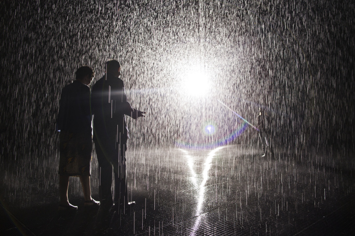 The Rain Room opens to the public at LACMA on Sunday, Nov. 1, 2015. The installation is the creation of London-based artists' studio Random International.