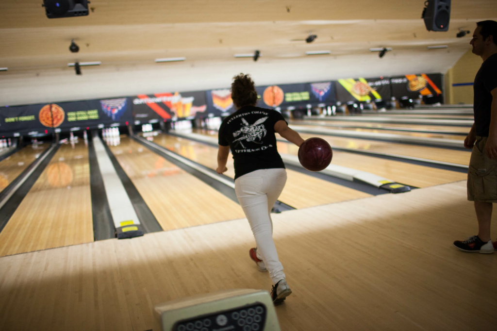 Desiree Escarcida takes her turn on the lanes at the AMF bowling alley in Fullerton, Calif.