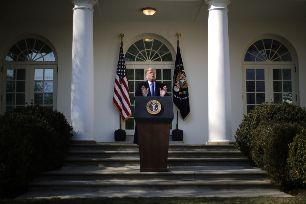 U.S. President Donald Trump speaks on border security during a Rose Garden event at the White House February 15, 2019 in Washington, DC