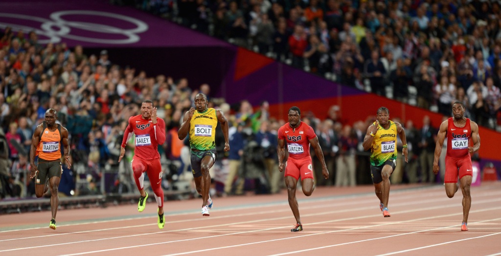 LONDON, ENGLAND - AUGUST 05:   (L-R) Churandy Martina of the Netherlands, Ryan Bailey of the United States, Usain Bolt of Jamaica, Justin Gatlin of the United States, Yohan Blake of Jamaica and Tyson Gay of the United States compete in the Men's 100m final on Day 9 of the London 2012 Olympic Games at the Olympic Stadium on August 5, 2012 in London, England.    (Photo by Julia Vynokurova/Getty Images)