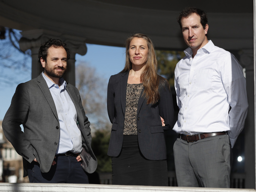Attorneys, from left, David Seligman, Nina DiSalvo and Alexander Hood of Denver's Towards Justice, which filed a lawsuit on behalf of au pairs for higher pay.
