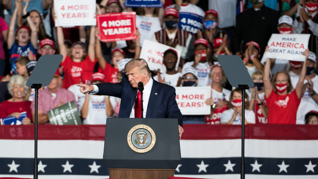 President Trump addresses the crowd during a campaign rally Tuesday at Smith Reynolds Airport in Winston Salem, N.C.