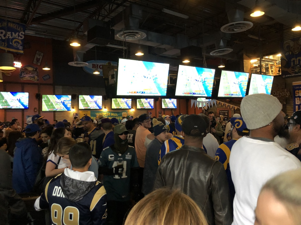 Fans gather in a North Hollywood Rams bar for the Super Bowl.