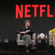 Black Mirror executive producers Charlie Brooker and Annabel Jones at Netflix 2016 Summer TCA at the Beverly Hilton Hotel on Wednesday, July 27, 2016, in Beverly Hills, CA.