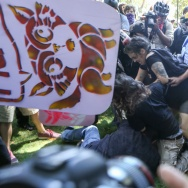 Right-wing No-To-Marxism rally attendees and counter protesters clash on Aug. 27, 2017 at Martin Luther King Jr. Park in Berkeley, California.