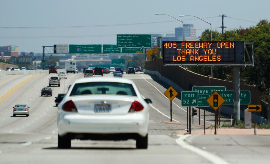 File: A freeway traffic sign announces the opening of the Interstate 405 and thanks motorists after the freeway re-opened ahead of schedule following the 10 mile shutdown of the nation's busiest freeway for bridge work on July 17, 2011 in Los Angeles.