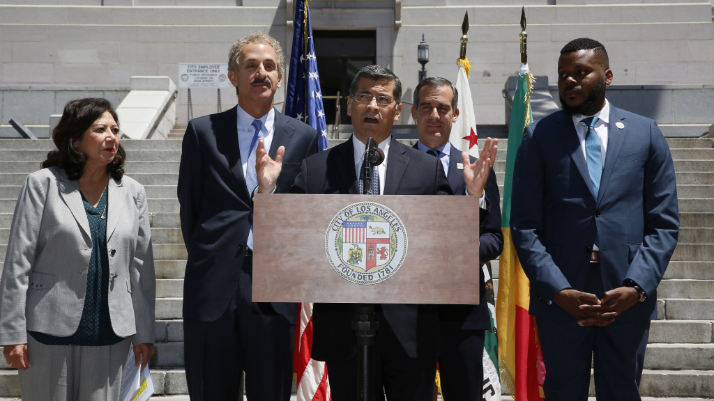 California Attorney General Xavier Becerra (center) announces that Stockton, Calif., and the city and county of Los Angeles are joining California's lawsuit over the 2020 census citizenship question at a news conference in Los Angeles in May. Becerra is joined by (from left) Los Angeles County Supervisor Hilda Solis, City Attorney Mike Feuer, Mayor Eric Garcetti and Stockton Mayor Michael Tubbs.