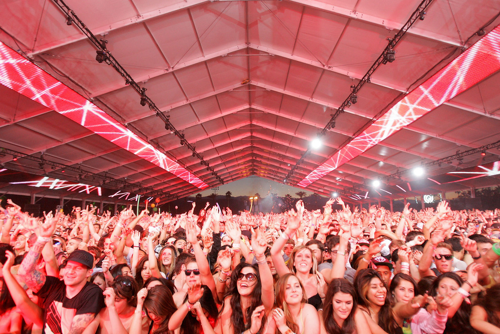 Fans enjoy Sebastian Ingrosso at the Coachella Valley Music and Arts Festival Saturday afternoon in 2012.