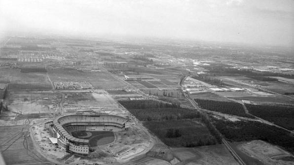 Aerial view of Anaheim Stadium construction and surrounding area, circa 1966.