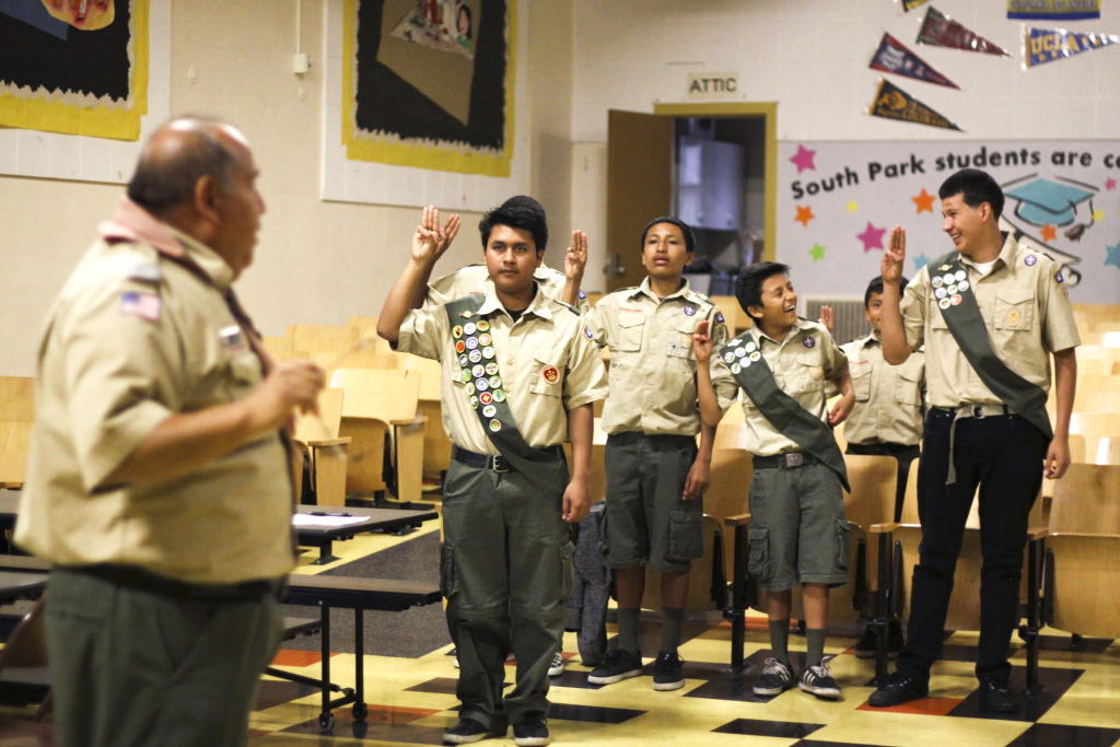 Romy Vasquez drills his boys ahead of an upcoming Eagle Scout ceremony.