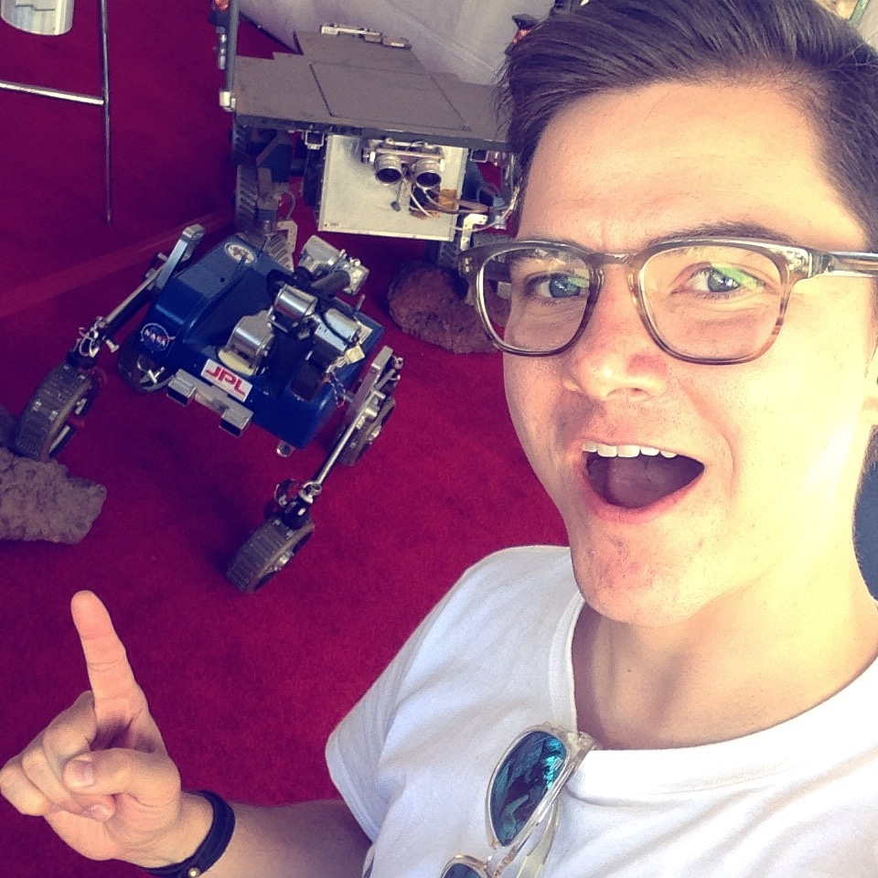 Sanden Totten geeking out over a test rover at JPL's 2015 Open House.