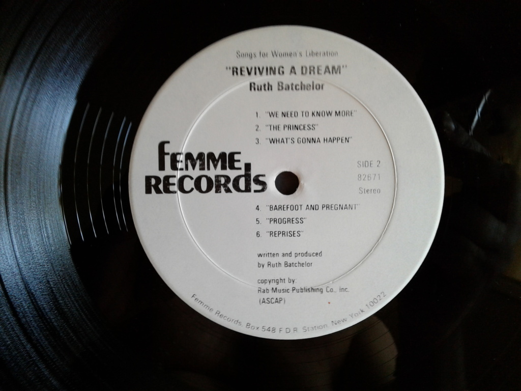 "The inner wax and label for Ruth Batchelor's album ""Songs for Women's Liberation: Reviving a Dream"""
