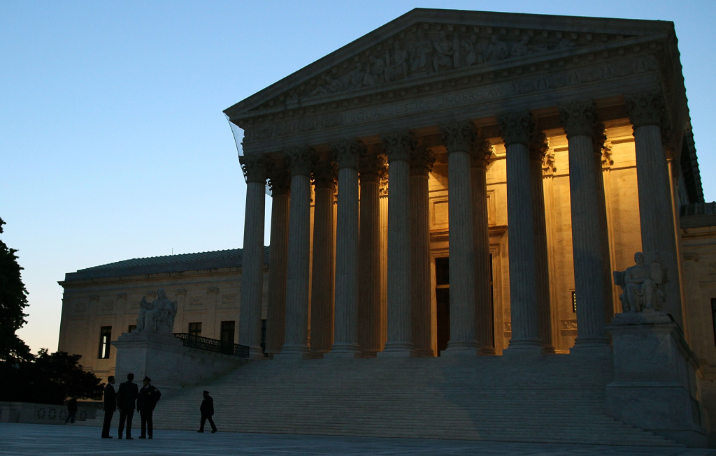 The U.S. Supreme Court is illuminated  on April 25, 2012 in Washington, DC. The court issued important decisions Thursday, but left the question of health care up in the air.