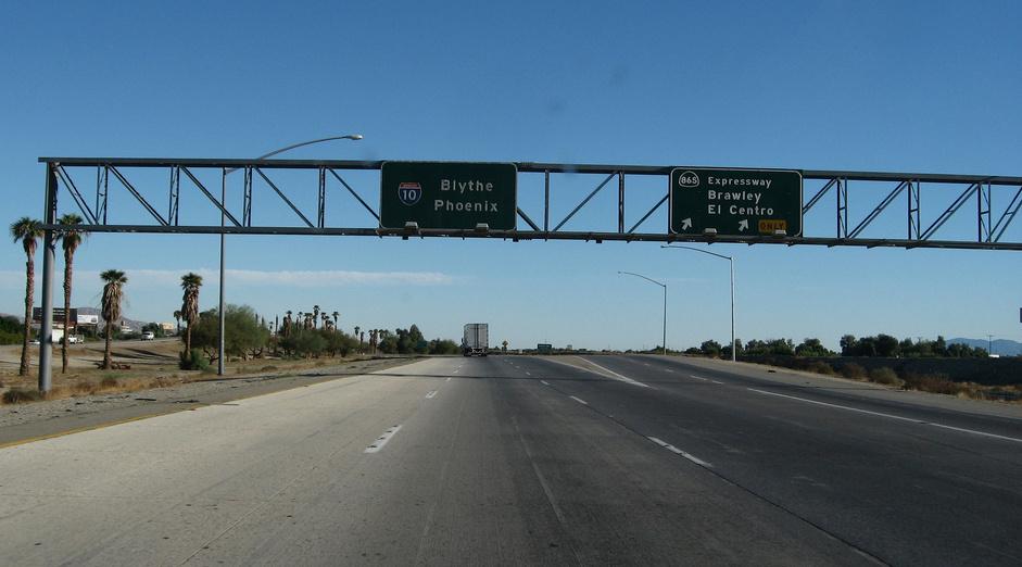 The freeway heading toward Blythe and Arizona.