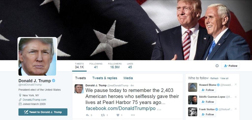 Screenshot of Trump's Twitter account